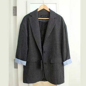 Zara Wool Blend Pin Striped Oversized Blazer